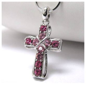 jewels crystal pink cross cross necklace necklace jewelry