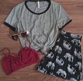 t-shirt,stripes,cute,black and white,black,rave,shorts,elephant,tribal pattern,tribal shorts,tribal elephant