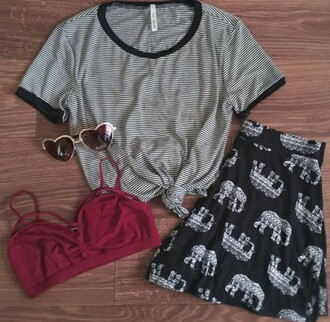 t-shirt stripes cute black and white black rave shorts elephant tribal pattern tribal shorts tribal elephant