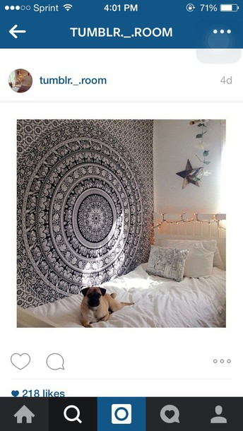Home Accessory Tribal Wallpaper Black And White Mandala Tapestry