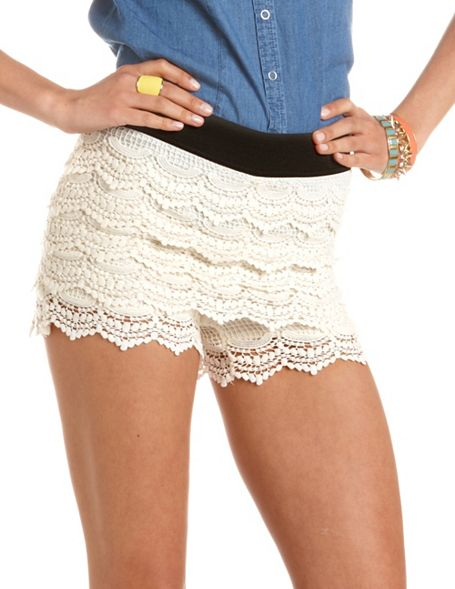 Tiered Crochet Lace Short Charlotte Russe