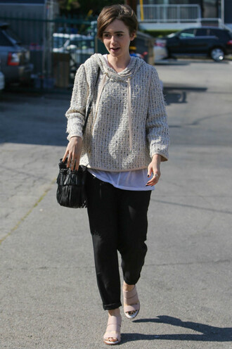 shoes mules lily collins sweater