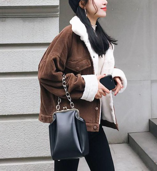 coat girly brown fur fur coat fur jacket corduroy button up