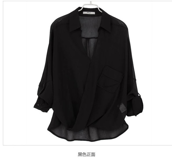 with Chest wrapped 2014 spring and Summer Casual Loose Long sleeve Chiffon shirt Women Blouse Chiffon Plus size-inBlouses & Shirts from Apparel & Accessories on Aliexpress.com