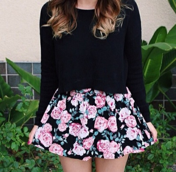skirt flowers black hipster swag girl girly outfit rose roses green cool pretty
