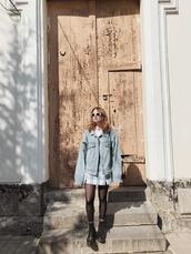 kristina magdalina,blogger,jacket,sunglasses,skirt,bag,shoes,denim jacket,ankle boots,spring outfits