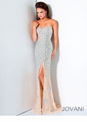 Jovani 2012 Silver and Nude Long Prom Gown 4247