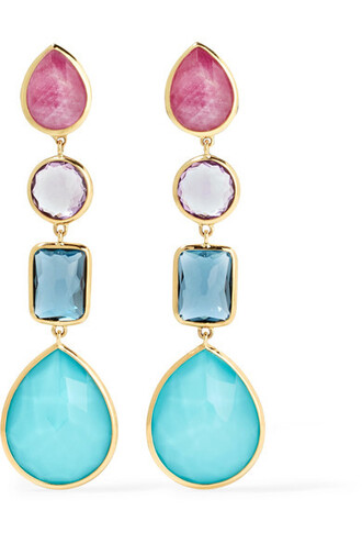 rock candy earrings gold blue jewels