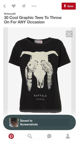 shirt black shirt with beige bull skull