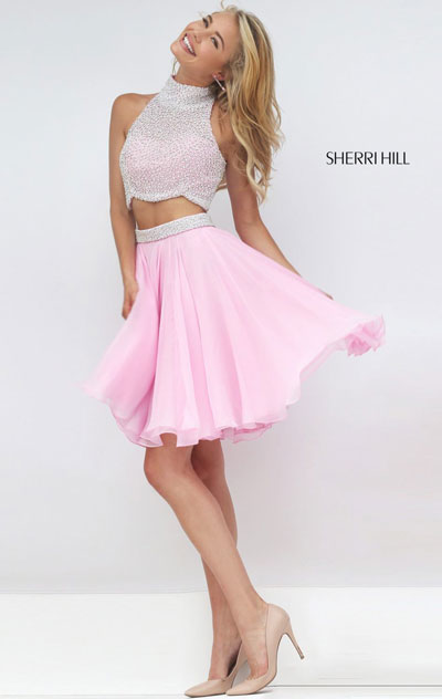 Ivory/Pink High-Neck Short Homecoming Dresses Two-Piece Beaded Round 2016 [Sherri Hill 50179 Ivory/Pink] - $205.00 : 2016 Cheapest & Most Charming Short Homecoming Dresses
