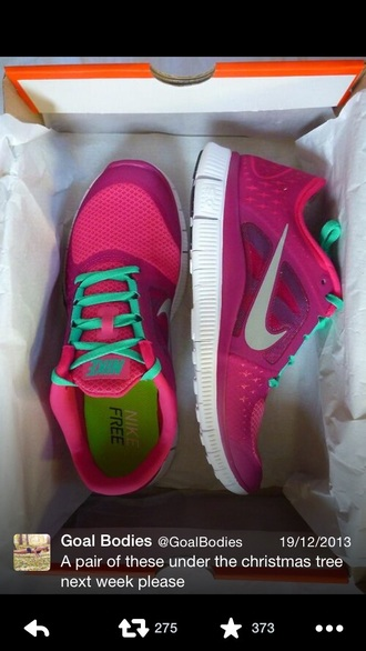 shoes trainers nike nike running pink blue tick laces nike shoes nike women nike wear nike shoe nike shoes womens nike free run nike running shoes