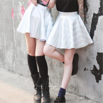 skirt white holographic metallic fashion streetwear cool style summer trendy boogzel