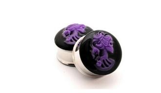 jewels skulls purple skeleton ear plug