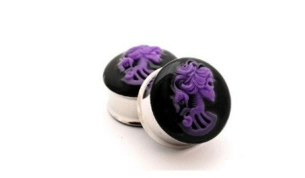 jewels skull purple skeleton ear plug