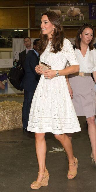 shoes cork wedge cork wedge sandals white eyelet dress white dress box clutch stuart weitzman kate middleton white summer dress