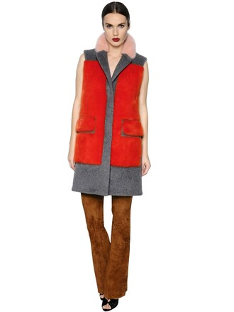 vest fur vest fur mohair orange grey jacket