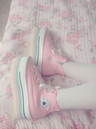 shoes fairy kei kawaii harajuku lolita converse platform shoes platform sneakers pastel pastel goth soft grunge rainbow