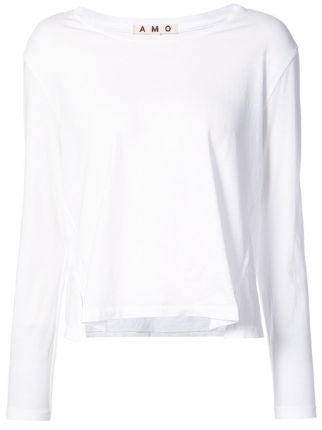 amo t-shirt shirt t-shirt women white cotton top