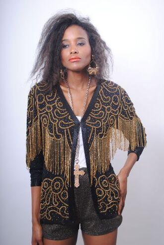 cardigan gold black blazer tassel glam glam rock glamour vintage