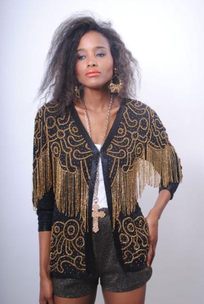 cardigan gold black blazer tassel glamour glam rock glamour vintage fringes
