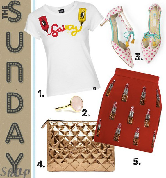fashion foie gras blogger graphic tee polka dots red skirt lipstick metallic quilted pouch t-shirt jewels shoes bag make-up skirt metallic clutch