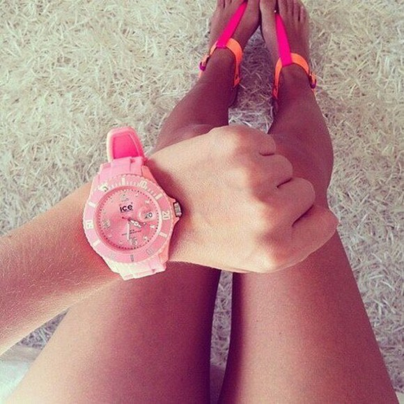sandals orange flats neon shoes pink