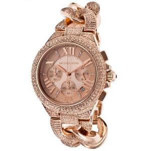 Michael Kors Women's Camille Watch Chronograph Rose-Tone Steel and Dial MK3196