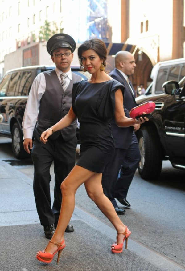 shoes orange shoes kourtney kardashian black dress high heels dress