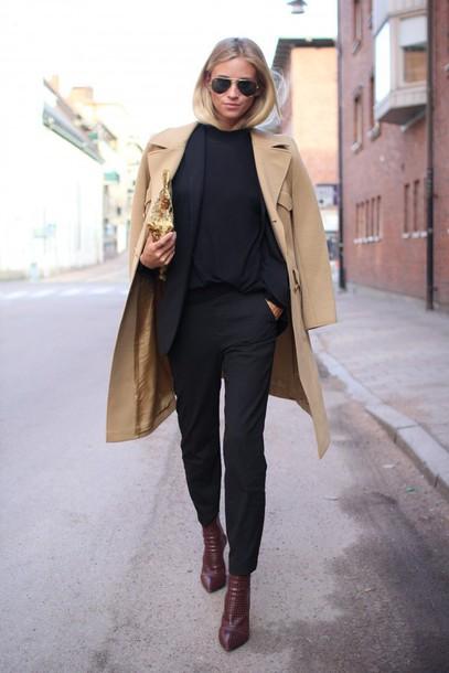 the fashion eaters blogger classy black pants camel coat