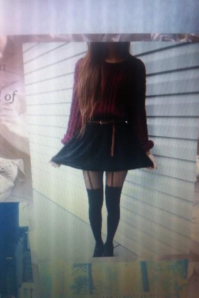 red sweater skirt black skirt socks