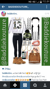 top,baddiekouture_,beanie,hoodie,crewneck,jewels,shoes,instagram,outfit,black jeans,timberland,nails,braid,weed