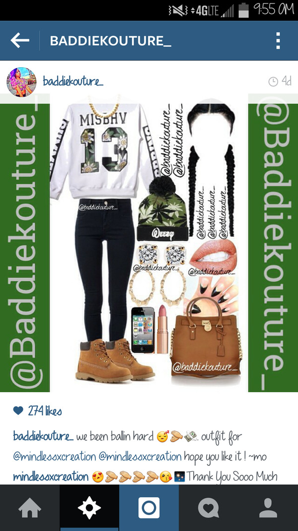 top baddiekouture_ beanie hoodie crewneck jewels shoes instagram outfit black jeans timberland nails braid