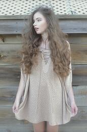 dress,shoulder slits,karma for a cure,lace up,cotton