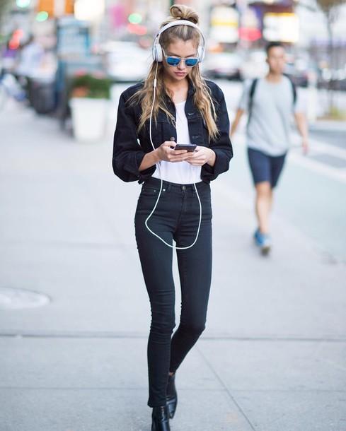 Jeans jacket tumblr black jacket black jeans skinny jeans denim jacket cropped jacket ...
