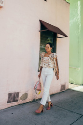 bag,blogger,blogger style,suede shoes,tumblr bag,bucket bag,floral blouse,floral,white trousers,sunglasses,jeans,floral top,tumblr,white jeans,cropped jeans,sandals,pink shoes,top