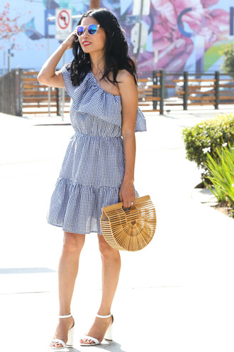 mamainheels blogger shoes dress bag sunglasses gingham dresses cult gaia bag summer outfits sandals high heel sandals