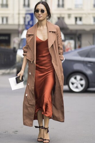 dress sandals coat camisole streetstyle paris fashion week 2016 nicole warne blogger date outfit rust midi dress slip dress brown coat brown sunglasses sandal heels le fashion image popsugar fashion shoes jeans orange slip dress trench coat black strap heels round sunglasses