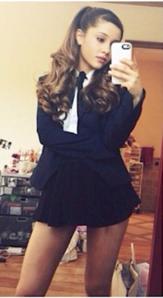 Blouse Ariana Grande White Black Bow Top Skirt Black Skirt