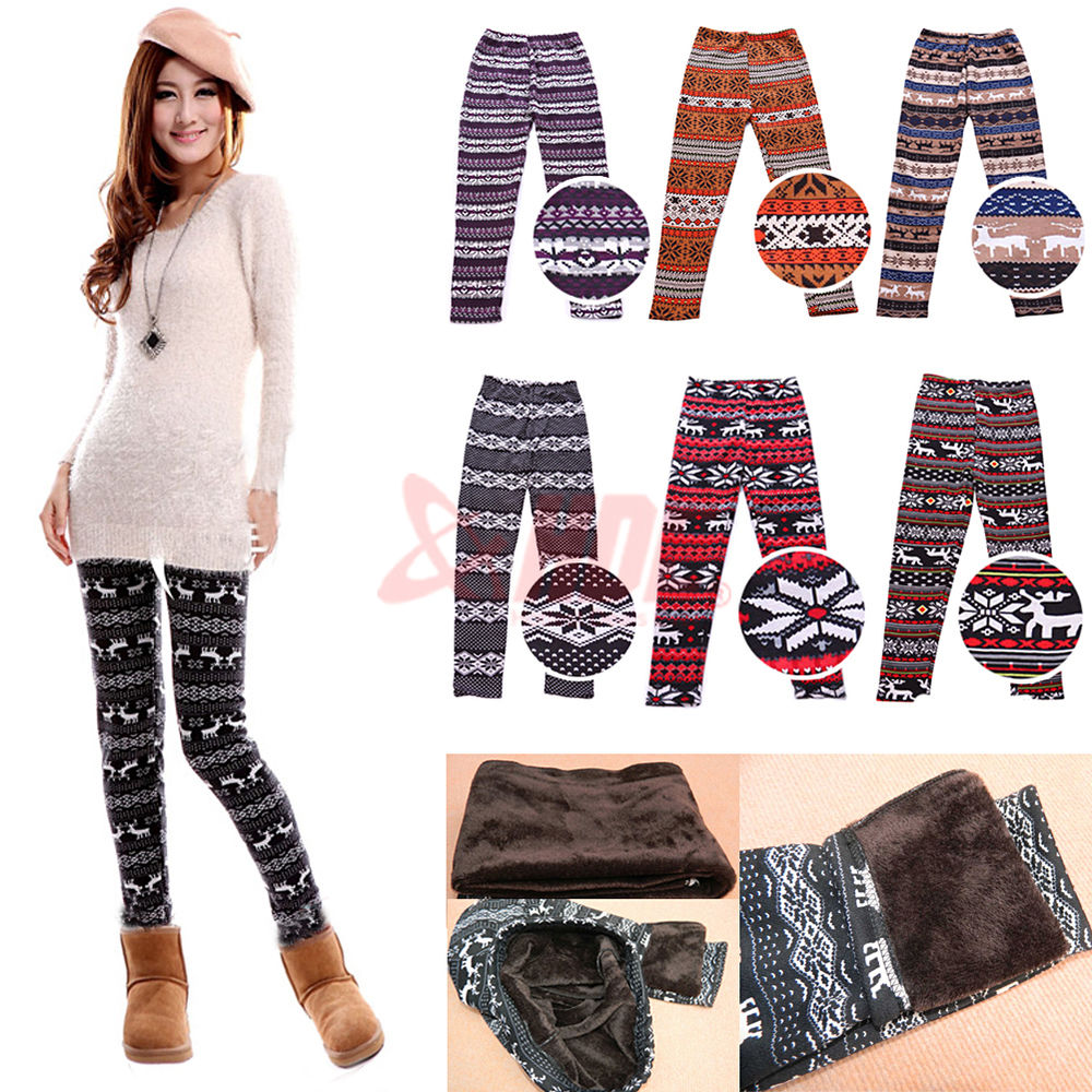 Knitted Nordic Insulated Leggings Thick Warm Winter Tights Pants Deer Snowflakes | eBay