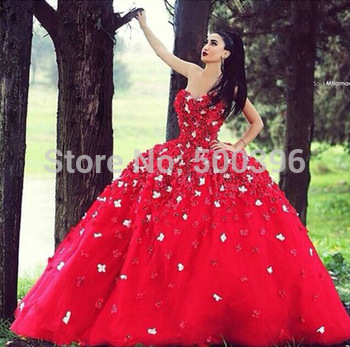 c3e3ccdfc6c Aliexpress.com   Buy Red Quinceanera Dress 2016 vestidos Floor Length  Formal Dress with Flowers Ball Gowns ...