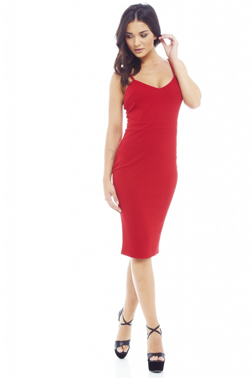 Plain Band Strap Bodycon Red Dress