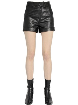shorts leather shorts high waisted high leather black