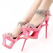 shoes,silver,gems,clear,baby pink,jewels,architectural heels,platform sandals,stilettos