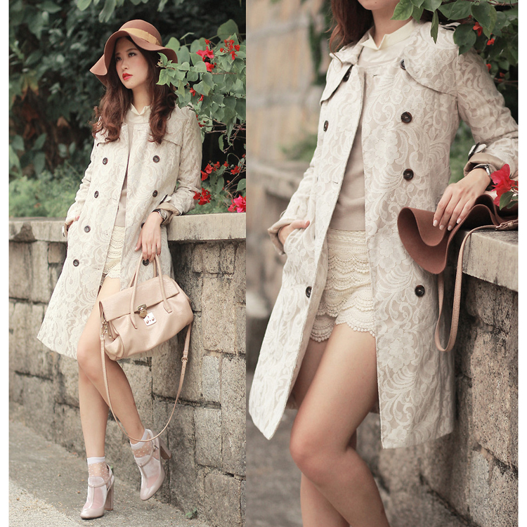 Floral Lace Print Double Breasted Trench Coat  - Retro, Indie and Unique Fashion