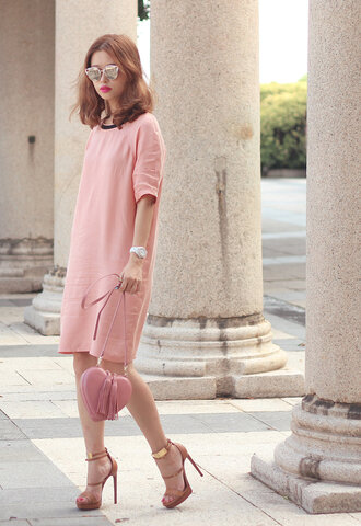 mellow mayo blogger all pink everything mirrored sunglasses shirt dress pink dress pink bag heart bag heart ankle strap heels fall colors