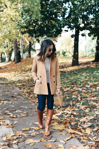 crystalin marie blogger jacket jeans shoes bag sunglasses beige coat knee high boots striped top