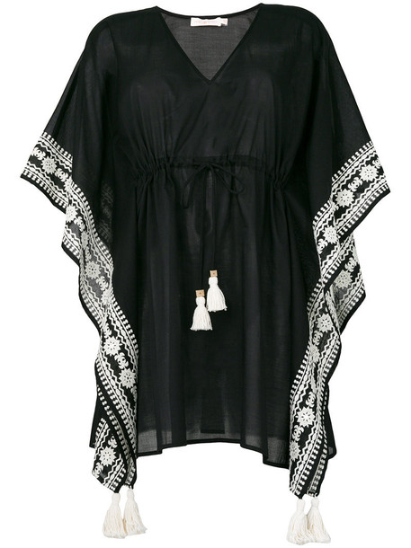 Tory Burch - embroidered kaftan - women - Cotton/Polyester - M, Black, Cotton/Polyester