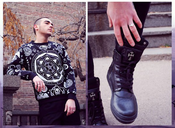 sweater punk rock punk punk pentagram cult occult dark hipster punk cross shoes