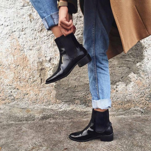 Shoes Tumblr Black Boots Flat Boots Ankle Boots Denim