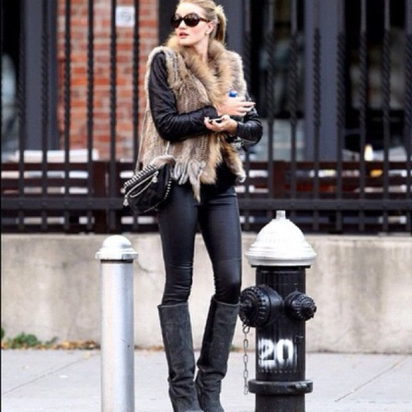pants rosie huntington-whitley fur vest